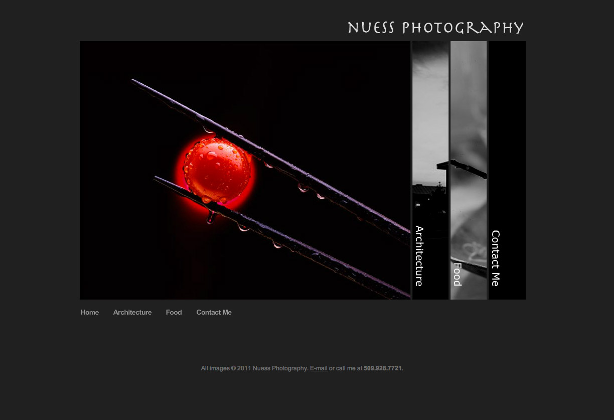 Nuess Photography website development & design