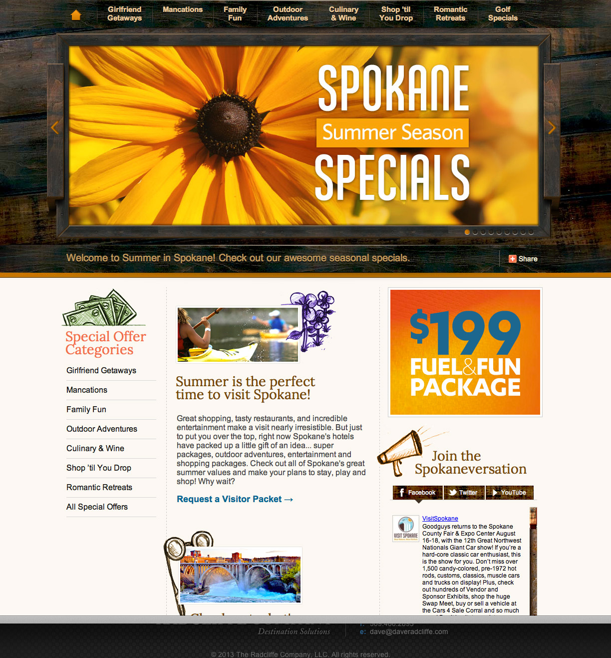 Summer in Spokane website development & design